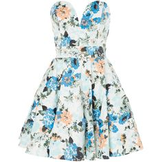 tfnc Floral print prom dress ($69) ❤ liked on Polyvore featuring dresses, vestidos, robes, short dresses, women, floral dress, floral prom dresses, strapless prom dresses and short cocktail prom dresses