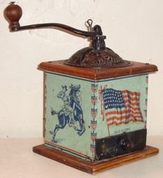 This is the wonderful Old Glory coffee grinder I owned for almost 40 years and recently sold. It still makes me smile. :) knowyourgrinder.com #coffeegrinder #grinder #coffeeswag #coffee