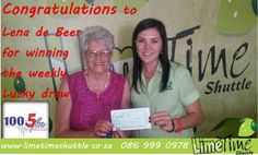 Congratulations to Lena de Beer for winning the weekly lucky draw on Radio…