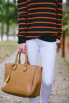 Stripe Sweater, White Skinny Jeans, Tory Burch Robinson Tote