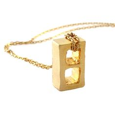 $150 Cinder Block Necklace Gold by KIEL MEAD. Industrial meets glam #jewelry #industrial #gold