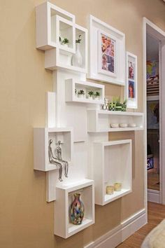 Multiple white wood shelves