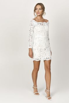 When the invite says to dress up, show up in the Adelyn White Lace Bodycon Dress to wow them all. This lace banquet dress features a bardot neckline w White Lace Bodycon Dress, White Lace Wedding Dress, Dress Wedding, Dress Prom, Dress Lace, Tight Wedding Dresses, Cocktail Wedding Dress, Bardot Wedding Dress, Tight Lace Dress