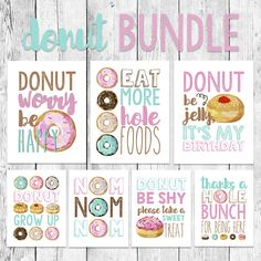 Donut Word Art Bundle/ Party Printable/ First Birthday Celebration/ Doughnut Event Decoration/ Donut Grow Up/ Donut Worry Be Happy/ Sprinkle - food - Donuts Donut Birthday Parties, Donut Party, Birthday Celebration, Birthday Party Themes, Art Birthday, Birthday Ideas, Grown Up Parties, Donut Decorations, Girl First Birthday