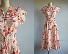 Vintage 40s Dress / 1940s Floral Print Cotton Day Dress Housedress Red Orange White / New Old Stock by zestvintage on Etsy https://www.etsy.com/listing/184843534/vintage-40s-dress-1940s-floral-print