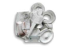 Silvia Walz Brooch: Still life with scissors 1, Copper, enamel - Émaux at this Moment