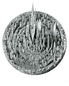 Ad Infinitum: Pen & Ink Drawings by Benjamin Sack Depict Infinite Cityscapes City Drawing, Line Artwork, Cityscape Art, Colossal Art, Urban Architecture, City Illustration, Unusual Art, Detailed Drawings, Ink Pen Drawings