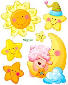 Adesivi Murali SOLE LUNA E STELLE cm 36 x 29 per cameretta bambini.