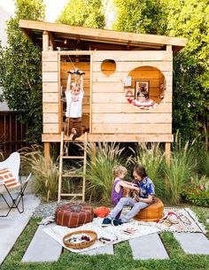   For about $300, Mike crafted the ultimate hideaway using corrugated sheet metal for a roof and rot-resistant 4-by-4-foot white redwood fencing topped off with a few coats of Thompson's Water Sealer. #backyardplayhouse