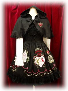 Baby the Stars Shine Bright   Little Red Riding Hood Applique OP (赤ずきんアップリケワンピース) in black.