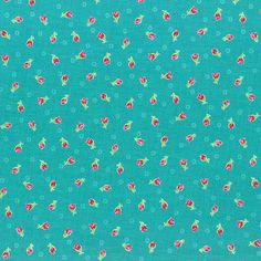 Flower Sugar Spring 2014 Pink Rosebuds on Teal  Cotton Fabric  by Lecien 30971-60
