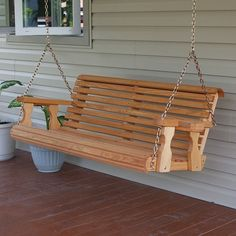 Amish Heavy Duty 800 Lb Roll Back Treated Porch Swing with Cupholders - Cedar Stain Garden Swing Seat, Pergola Swing, Pergola With Roof, Pergola Ideas, Sunbrella Outdoor Cushions, Cedar Stain, Wooden Rocking Chairs, Wooden Swings, Wood Pergola