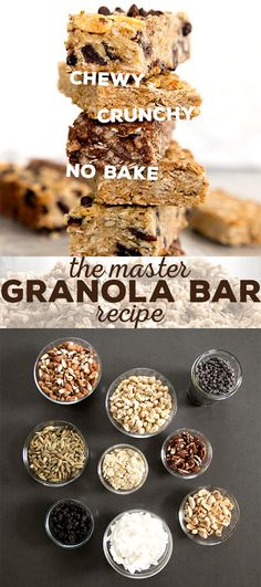 If you've ever wondered how you make homemade granola bars, this master granola bar recipe is for you. Make them chewy, crunchy or even no bake. This is a comprehensive look at how to make granola bar Paleo Granola Bars, No Bake Granola Bars, Homemade Granola Bars, Yogurt And Granola, Best Gluten Free Recipes, Fun Recipes, Protein Bars, High Protein, Vegan Protein
