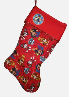 PERSONALIZED Paw Patrol Christmas Stocking by cjcreativedesigns                                                                                                                                                                                 Más Christmas Craft Show, Christmas Ideas, Christmas Decorations, Paw Patrol Christmas, Winter Holidays, Logan, Christmas Stockings, Sewing Projects, Quilting