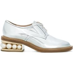 Nicholas Kirkwood 35mm 'Casati' pearl Derby shoes ($960) ❤ liked on Polyvore featuring shoes, oxfords, grey, laced up shoes, metallic oxfords, metallic shoes, embellished shoes and gray shoes