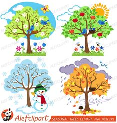 Items similar to Four Seasons Trees Clipart Seasonal Trees and Birds Clipart Clip Art Vectors - Commercial and Personal Use on Etsy Vogel Clipart, Bird Clipart, Tree Clipart, Seasons Lessons, Four Seasons Art, School Decorations, Winter Trees, Cute Birds, Autumn Summer