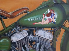 Harley War Girl by Thierry Beaudenon  When I get a motorcycle, I want a pinup on the gas tank