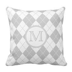 Monogram Gray and White Argyle Throw Pillow