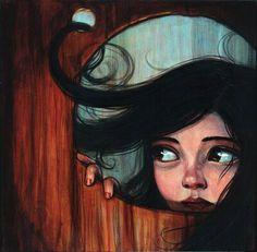 Kelly Vivanco Les cheveux dans le vent...pour Monet Aussi: des jumelles autour du coup, des piles de livres, nourriture pour Mia...son cochon