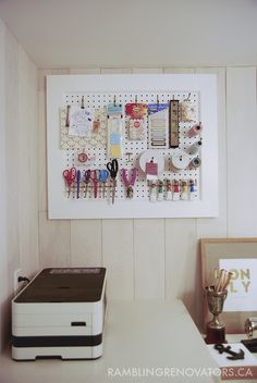 Pegboard to  hide electrical panel in laundry room