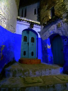 A doorway in Chefchaouen at night