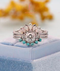 Art deco Moissanite engagement ring Vintage Opal Topaz Jewelry white gold Unique turquoise wedding band Bridal set Anniversary gift for her – Art Deco Engagement Ring Unique Diamond Engagement Rings, Deco Engagement Ring, Vintage Engagement Rings, Vintage Rings, Turquoise Engagement Rings, Engagement Jewelry, Vintage Jewellery, Diamond Rings, Antique Jewelry