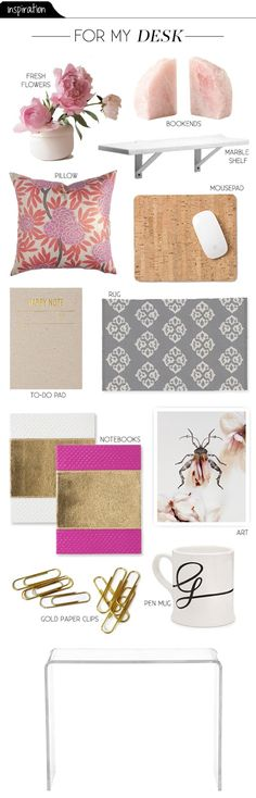 The Vault Files: Inspiration File: Desk decor - add girly, uniquely you touches in a special area of your home