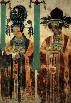 """jeannepompadour:  """"Khotanese donor ladies"""" wall paining from Dunhuang Mogao caves, Five dynasties period, mid 10th c. China"""