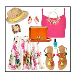 """""""Summer #53 - """"Jersey Skirt"""""""" by sammers-i on Polyvore featuring H&M, Ted Baker, Diane Von Furstenberg, Kate Spade, Steve Madden, Sara Designs, Lauren B. Beauty and Lilly Pulitzer"""