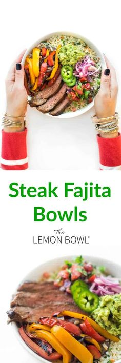 A low carb twist on the classic steak fajita dinner, Riced Veggies are topped wi. - The Lemon Bowl - A low carb twist on the classic steak fajita dinner, Riced Veggies are topped wi. - The Lemon Bowl - Steak Fajitas, Good Healthy Recipes, Easy Recipes, Delicious Recipes, Healthy Foods, Free Recipes, Keto Recipes, Macro Recipes, Weightwatchers Recipes