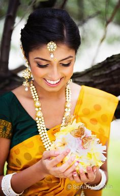 Beautiful Indian Brides. dark green and mustard yellow color combination