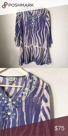 Zebra Print Kaftan Zebra Print Kaftan -neckline/sleeve embellishment -size XL but fits medium Tops Tunics