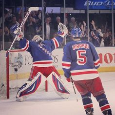 Henrik Lundqvist reacting to game 7 victory vs the Caps on 5-12-12.