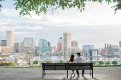 a view of the city...Baltimore Engagement by Taeck Jang Photography