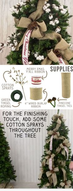 Burlap Christmas Tree | DIY Rustic Christmas Decorations Cheap | Homemade Christmas Decor Ideas on a Budget