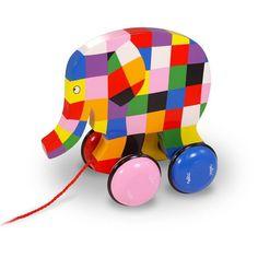 Elmer l'éléphant est un superbe jouet à tirer en bois pour bébés créée par Vilac