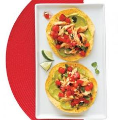 Chicken and Guacamole Tostadas Recipe | MyRecipes.com This looks yummy and it is also healthy.