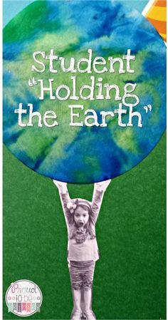 Love this-dye coffee filters with blue and green. Pictures of students holding up the earth. Cool!