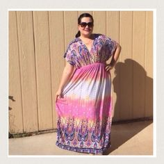 "Listing Pastel Maxi Absolutely beautiful Maxi. Measure 58"" long, PTP is 24"" and waist stretches to a 25"" model says it fits up to 3X. 95% poly 5% spandex Boutique Dresses Maxi"