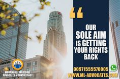 Our Sole Aim Is Getting Your Rights Back MOHAMED AL MARZOOQI ADVOCATES & CONSULTANCY  Abu Dhabi Lawyer attorney Dubai UAE Lawyers  Tel: +971 26584004 WhatsApp: +971555570005  Web: https://www.ml-advocates.com Blog: https://Legal.ml-advocates.com #Lawyer #Abu_Dhabi #lawyers #Dubai #attorney