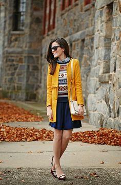 yellow coat, bedazzled fair isle sweater