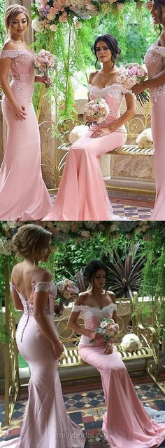Pink Bridesmaid Dresses Mermaid, Lace Bridesmaid Dress Backless, Off-the-shoulder Wedding Party Dresses Silk-like Satin