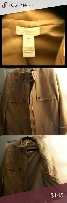 Jacket Tan .Light weight. Zippered.  Polyester. Rayon. Spandex.  Blend. Chico's Jackets & Coats Pea Coats