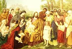 """Jesus and the Little Children. BIBLE SCRIPTURE: Matthew 19:14, """"But Jesus said, Suffer little children, and forbid them not, to come unto me: for of such is the kingdom of heaven."""" - http://access-jesus.com/Matthew/Matthew_19.html"""