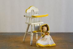 """Wooden High Chair with Doll - 1:12 Scale Vintage Dollhouse Furniture - """"Hello Dolly"""""""