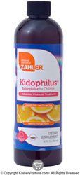 """Zahlers Kidophilus ( Acidophilus Liquid for Children) Natural Orange Flavor - 12 FL OZ by Zahlers. $21.20. Acidophilus for ChildrenAcidophilus (Lactobacillus acidphilus) is a """"friendly bacteria"""" with important health benefits. Kidophilus helps recolonize the intestines, improving immune function, particularly after antibiotic use.Zahlers Kidophilus effectively halts the growth of disease-causing bacteria, such as salmonella and shagella- caused dysentery, diarrhea, and ..."""