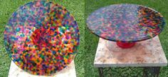 3315072225428439555207 I am going to do this!! Stained Glass Cake Stand. Fill the bottom of a 12 cake pan with CHEAP, plastic, transparent p...