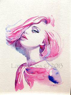 Tirage d'art de la création de mode aquarelle par LanasArt sur Etsy                                                                                                                                                      Plus