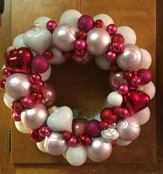 Pink red ornament wreath valentine Christmas heart