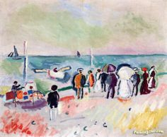 On the Beach Artwork by Raoul Dufy Hand-painted and Art Prints on canvas for sale,you can custom the size and frame